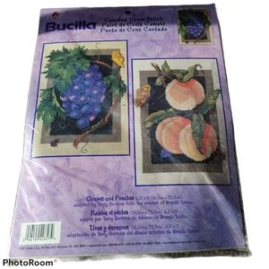 NWT Bucilla Counted Cross Stitch Grapes & Peaches